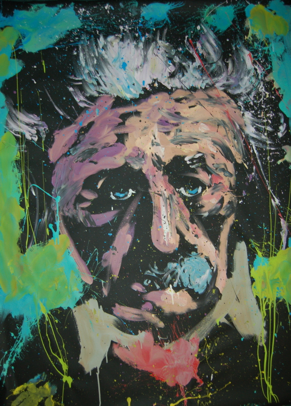 Einstein Original painted by David Garibaldi Live at Spoiled Rotten Boutique and Gallery