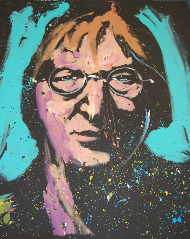 John Lennon Original painted by David Garibaldi Live at Spoiled Rotten Boutique and Gallery
